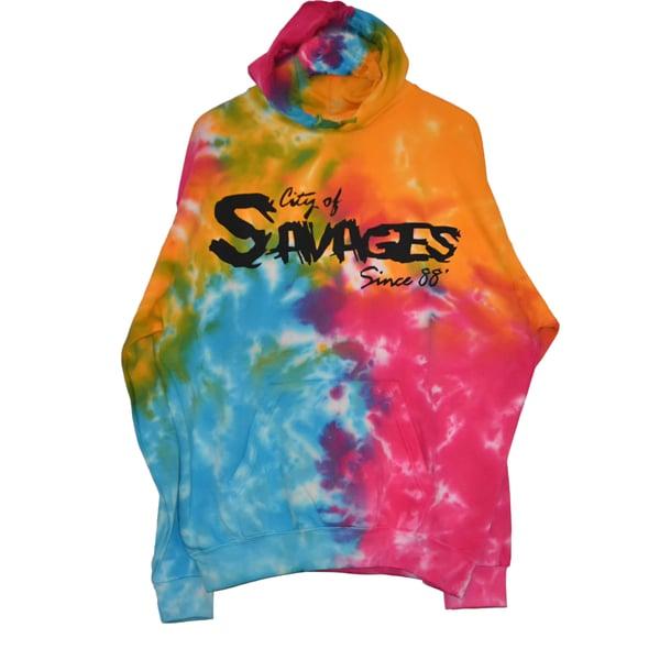 """Image of """"City of Savages"""" logo Tie-Dye hoodie"""