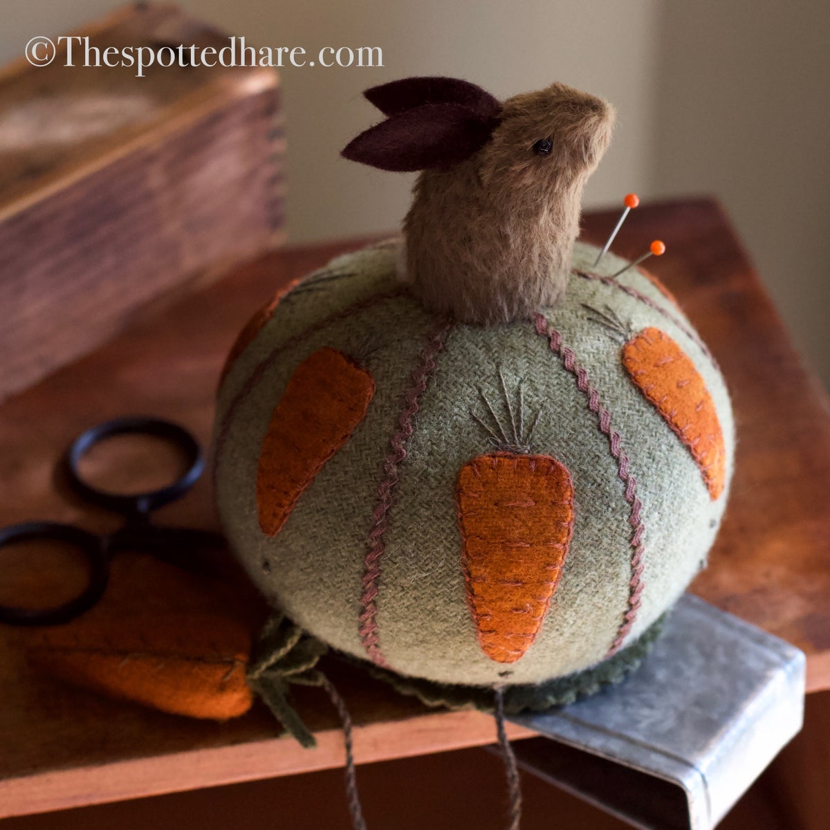 Image of Bunny On A Ball ~ Pincushion Kit ~  on a table slide base