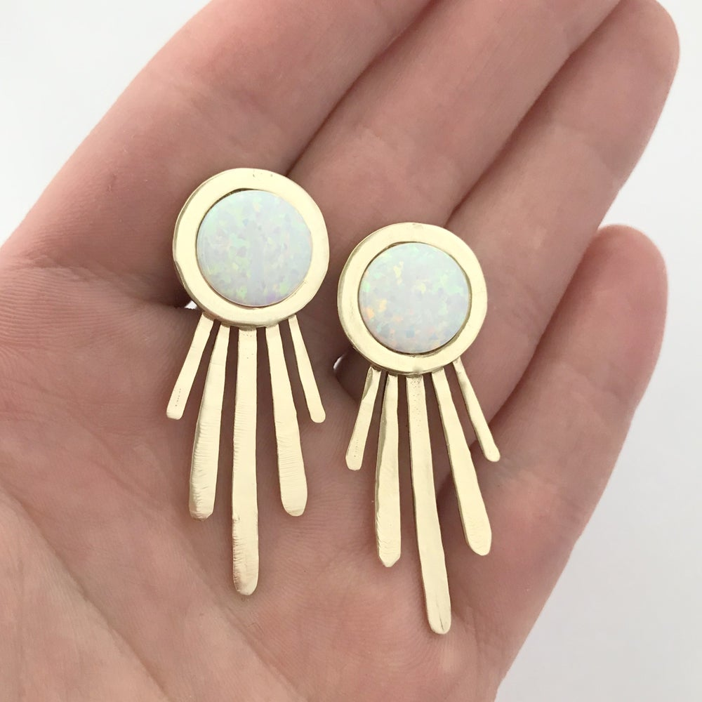 Image of Large Burst Statement Earrings with Opal