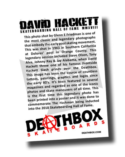 Image of DAVID HACKETT SKATEBOARD HALL OF FAME POSTER