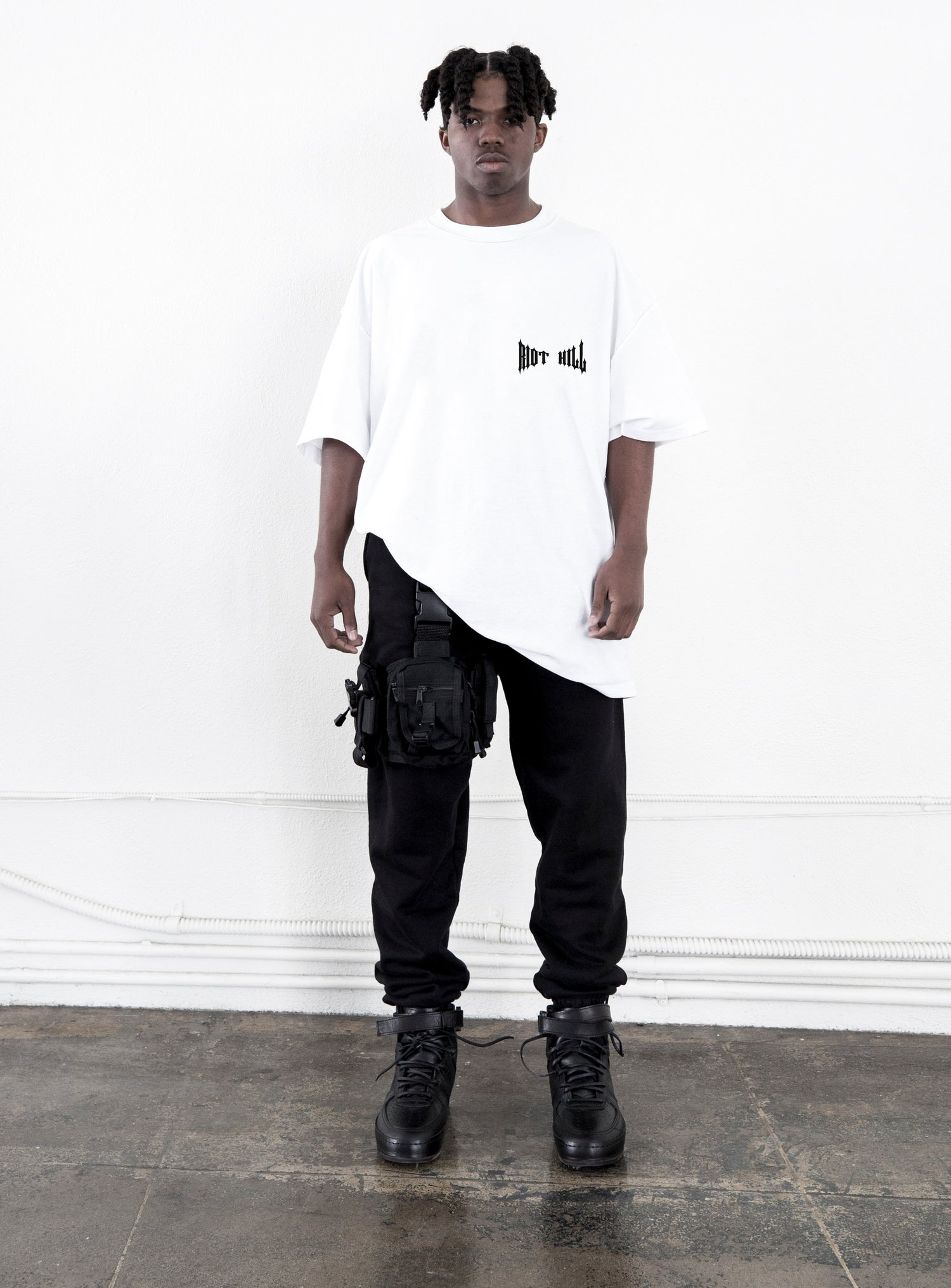 """Image of White """"RIOT  HILL"""" Logo T-shirt"""