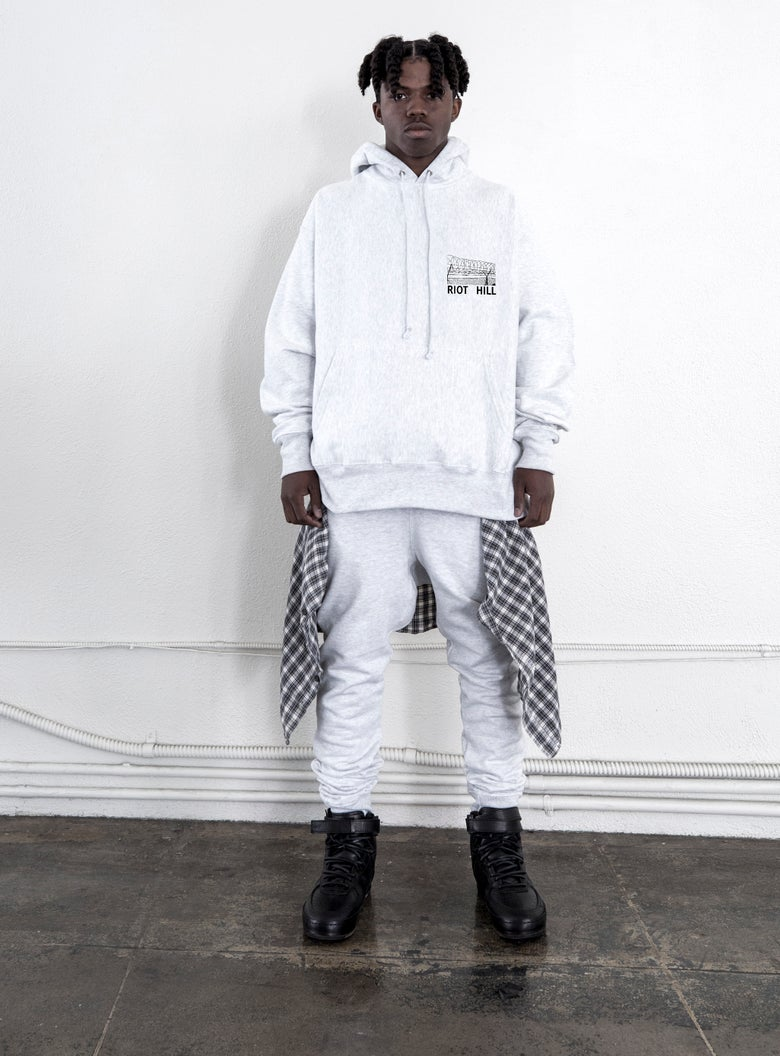 "Image of Ash Grey ""WIRE"" Hooded Sweatshirt"