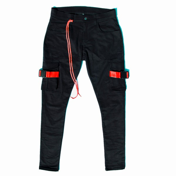 RED WEBBING CARGO PANT - Sean + Kelly