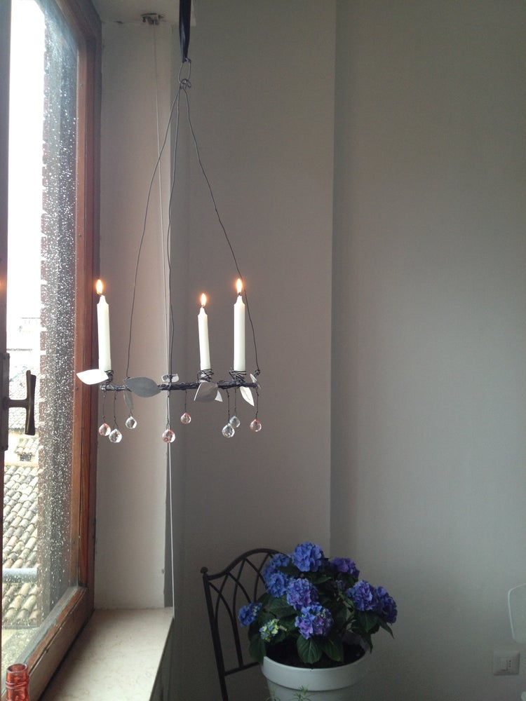 Image of Drop Crystal and Silver Leaves Candelabra