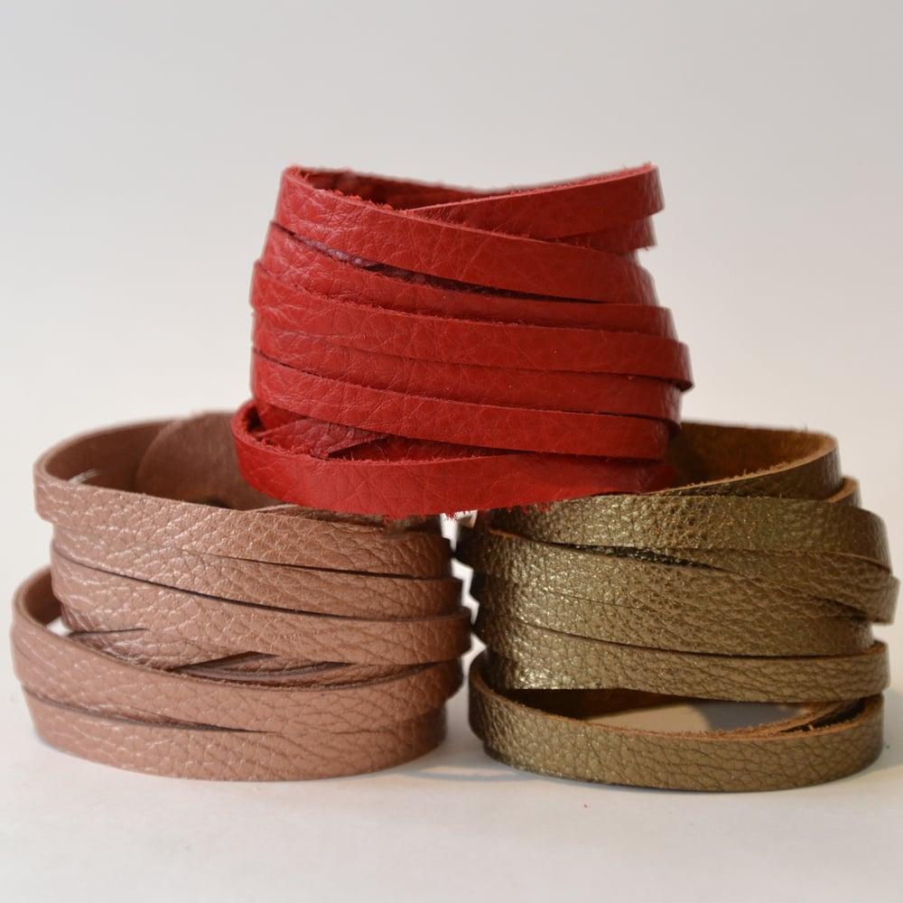 Image of Leather wrap bracelets - set of three