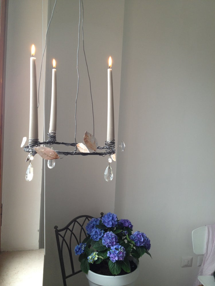 Image of Crystal and Silver Leaves Candelabra