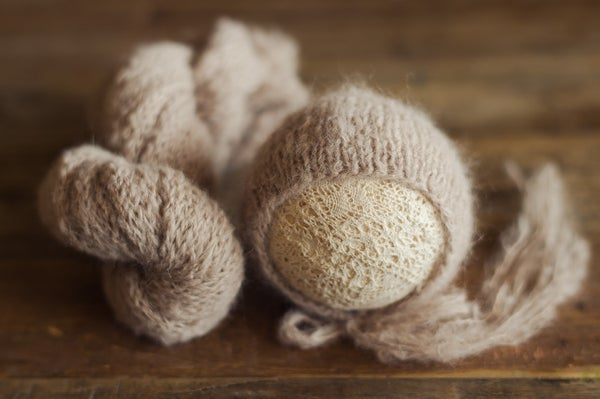 Image of Barnwood Tan Brushed Alpaca Bonnet + Newborn Wrap