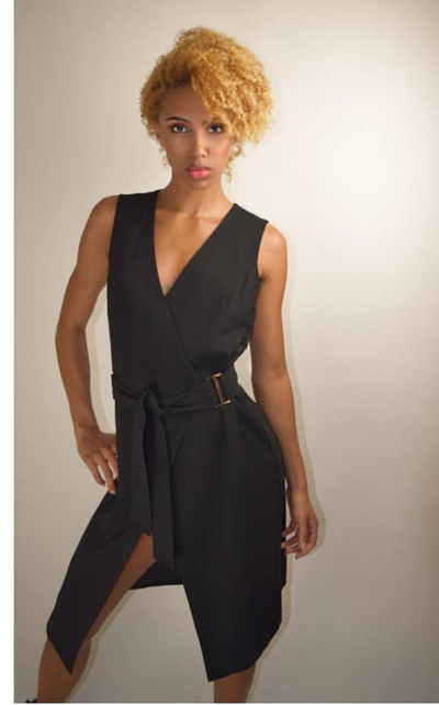 Image of Black Waist Belt Dress With Open Front  Slit