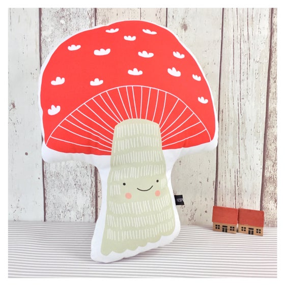 Image of Toby Toadstool Handmade Cushion - red or black