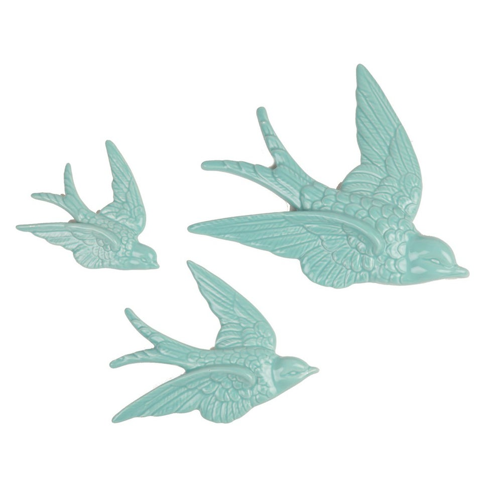 Image of SET DE 3 HIRONDELLES MINT EN PORCELAINE, SASS & BELLE