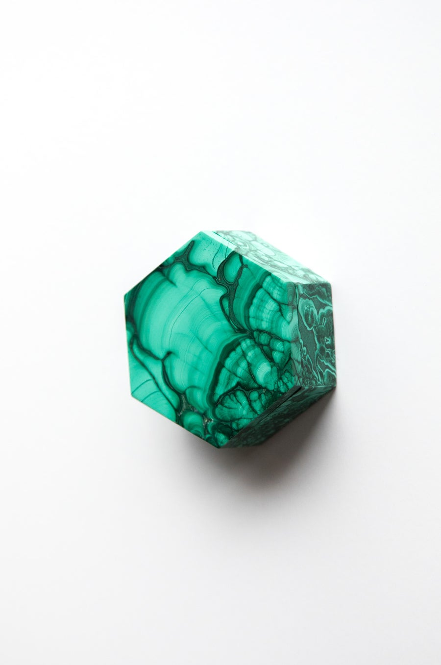 Image of Hexagonal Malachite Box