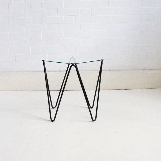 Image of Small side table with hairpin legs