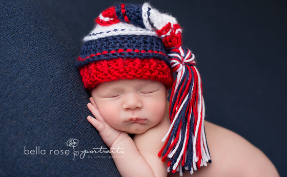 Image of Red, White and Navy Newborn Tassel Hat