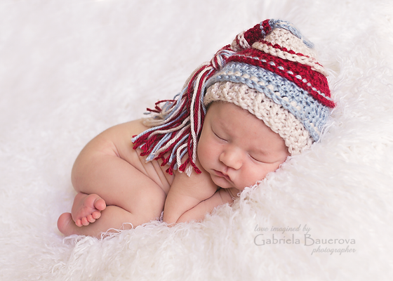 Image of Beige, Burgundy, Light Country Blue Newborn Tassel Hat