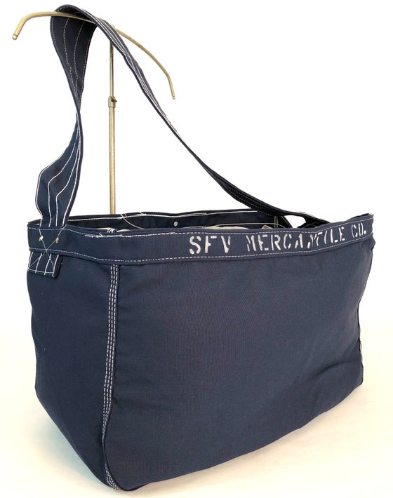 "Image of SFV MERCANTILE  ""Newspaper Boy"" Riveted Navy Canvas Bag w/ Stencil"
