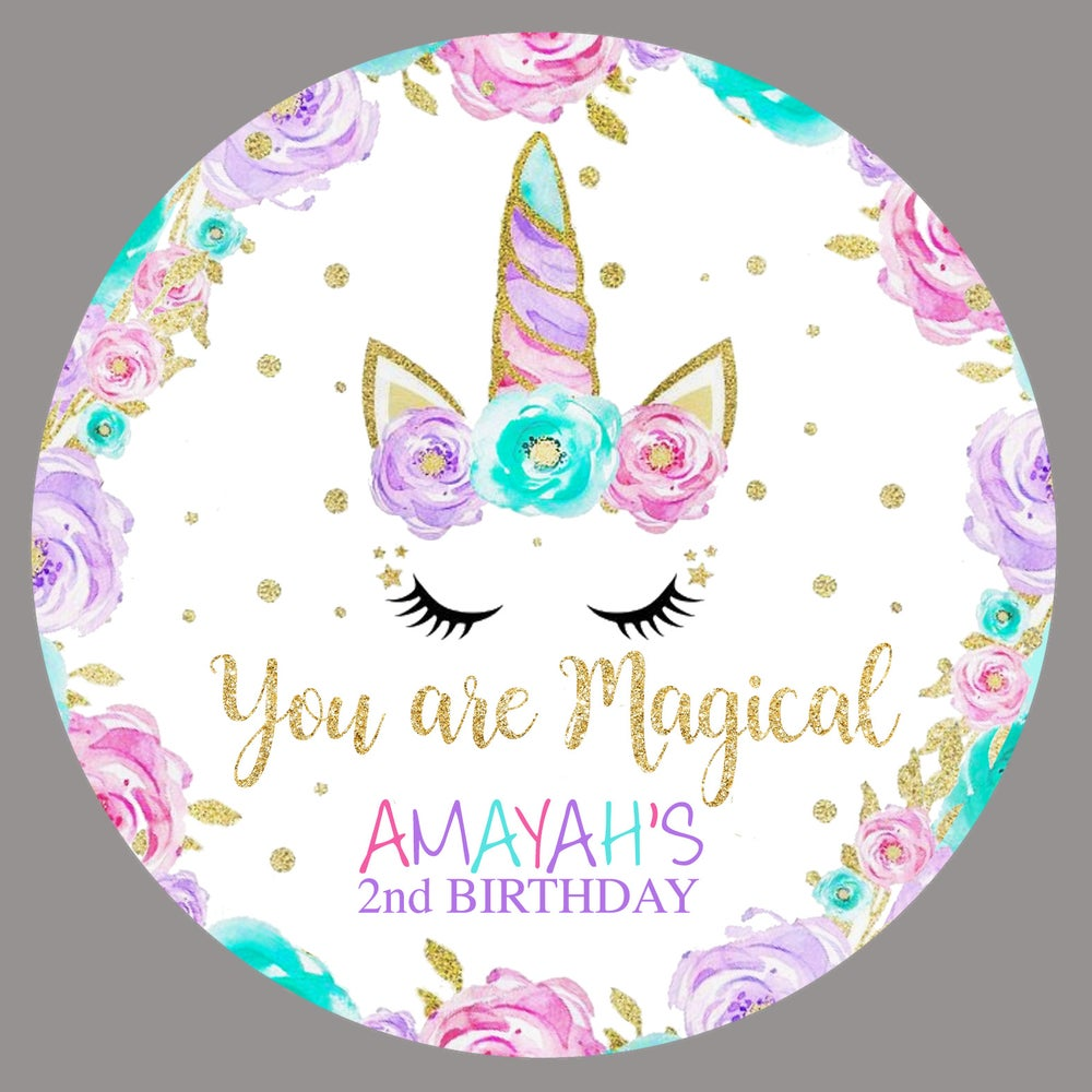 Image of Floral Unicorn party tags