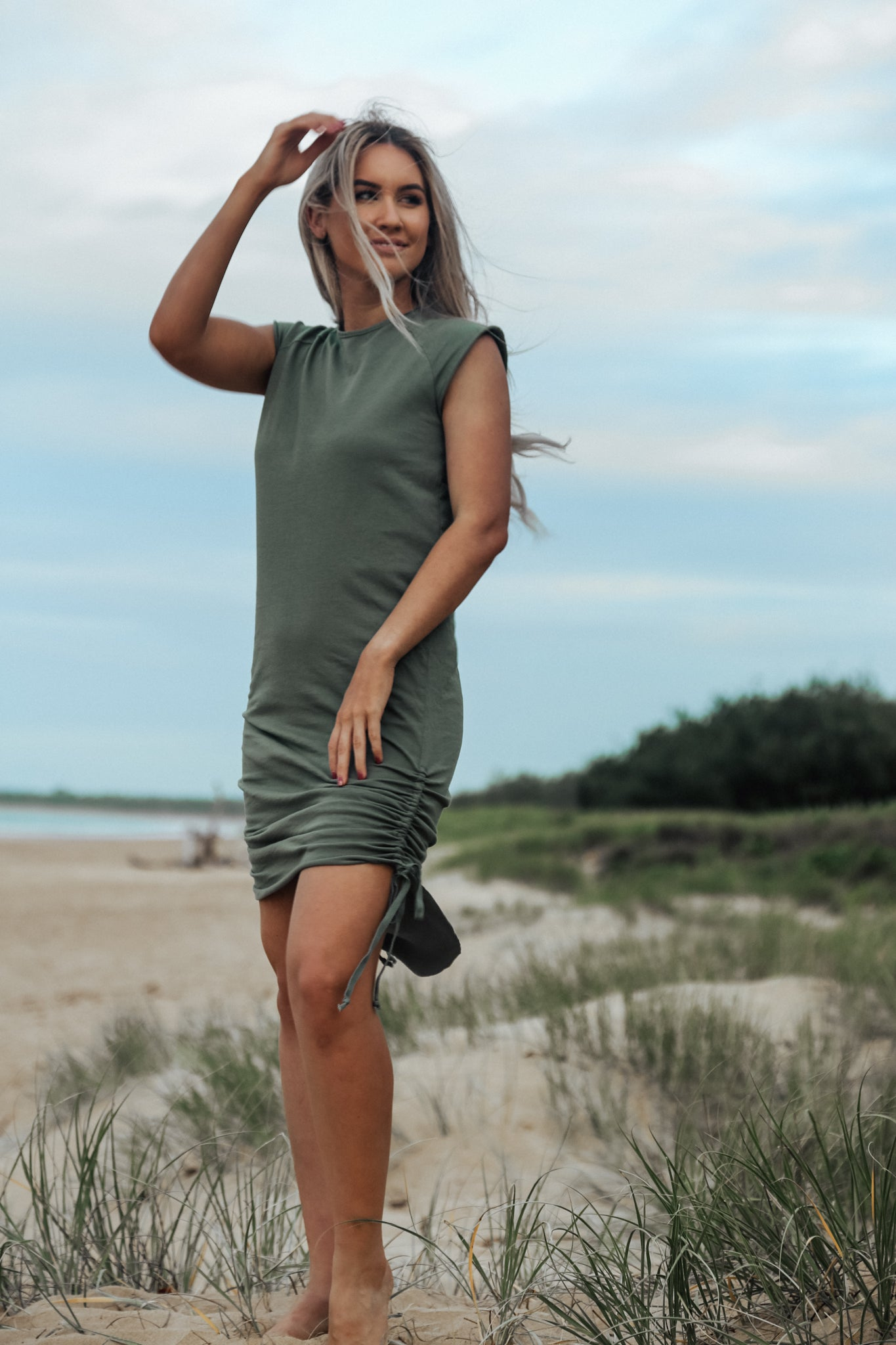 Image of Drawstring Dress - Olive