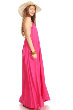 "Image of Pink ""Spring Vibes"" Maxi-Dress"