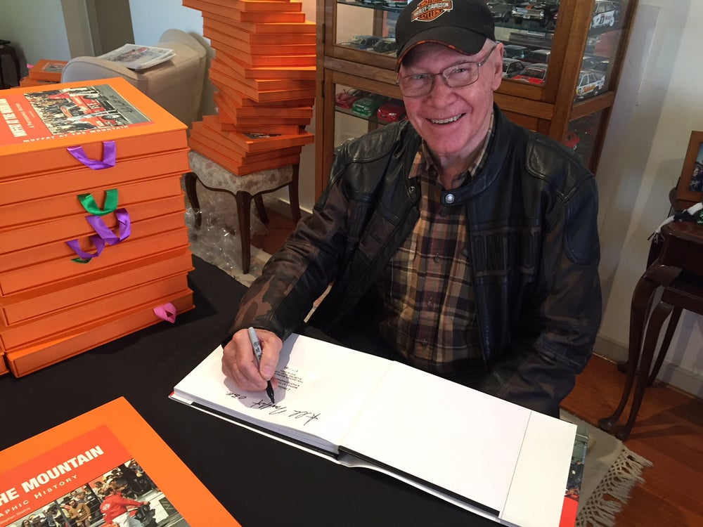 Image of Autographed, boxed & numbered Moffat at the Mountain book. Allan's Bathurst 500/1000 history.