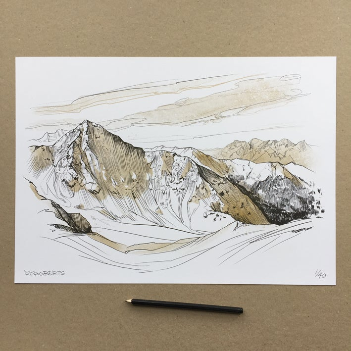 Image of A3 Bec des Rosses, Verbier limited edition risograph print