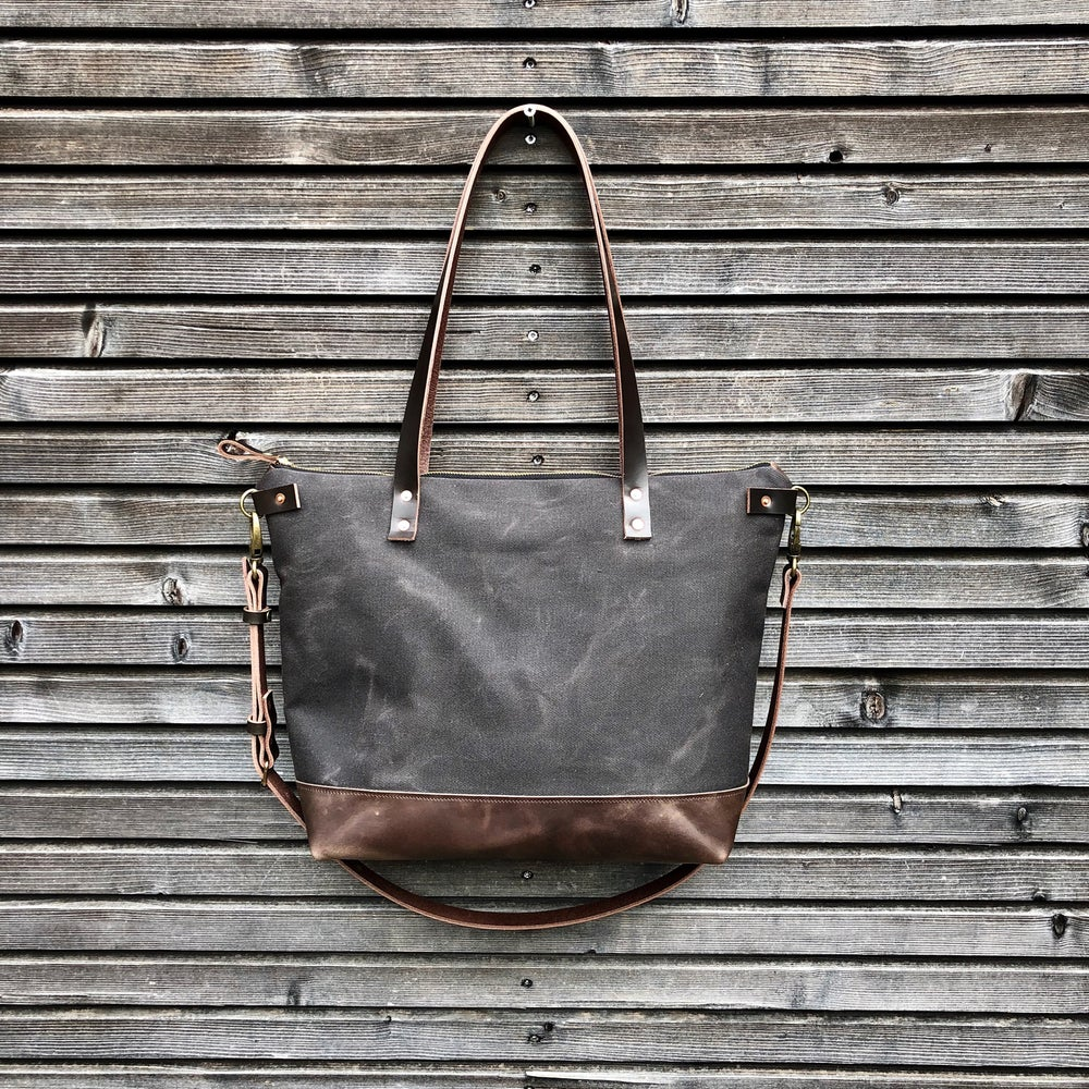 Image of Canvas leather tote bag / carry all / diaper bag with leather handles and leather bottom