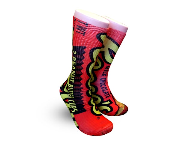 Image of 15.99 Reeses Socks -Cool Custom Elites-Reese's Peanut Butter Cup