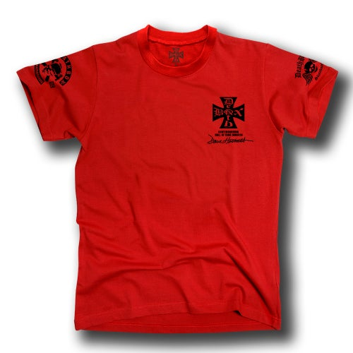 Image of DAVE HACKETT SKATEBORD HALL OF FAME RED TEE