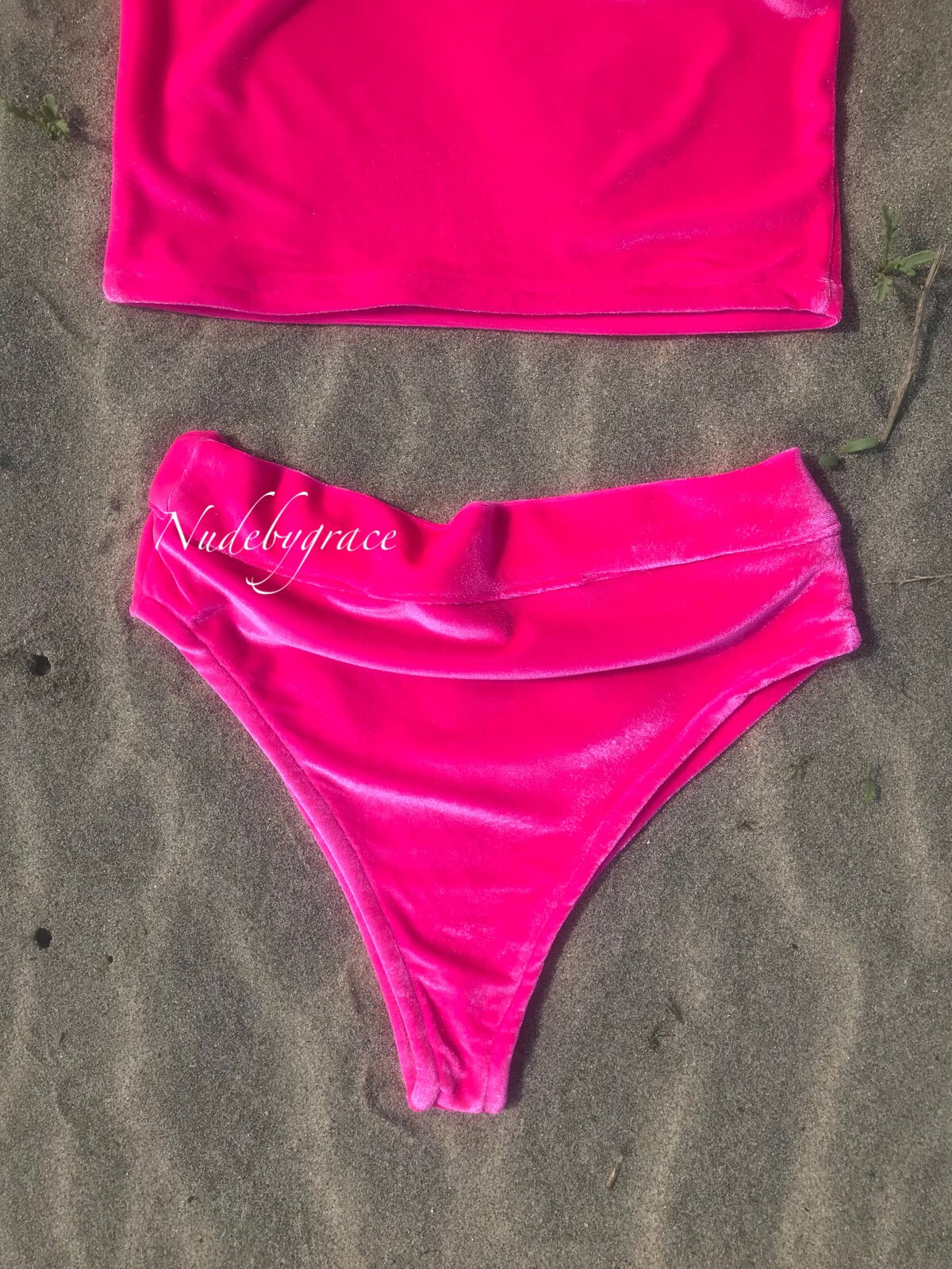 Image of Pink velvet 2 piece set, festival wear