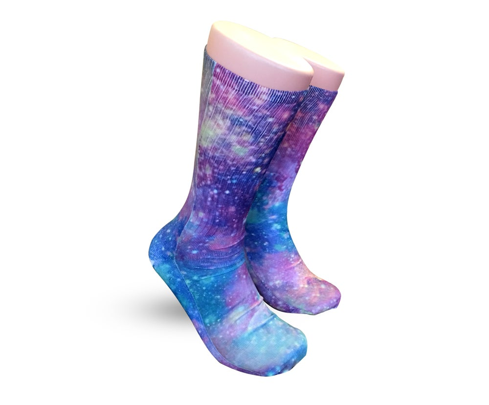 Image of Pink Galaxy Nike Elite Athletic socks | men size | boy size | girl size