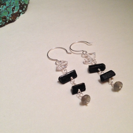 Image of Eight of Batons Black Tourmaline Herkimer Diamond Labradorite Gemstone Sterling Silver Earrings