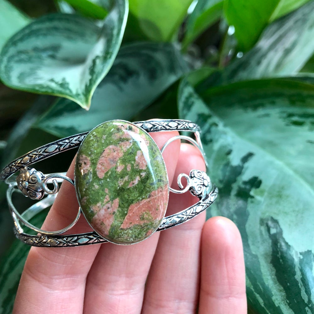 "Image of ""Enchanted Earthchild"" Unakite Sterling Silver Bracelet Cuff"
