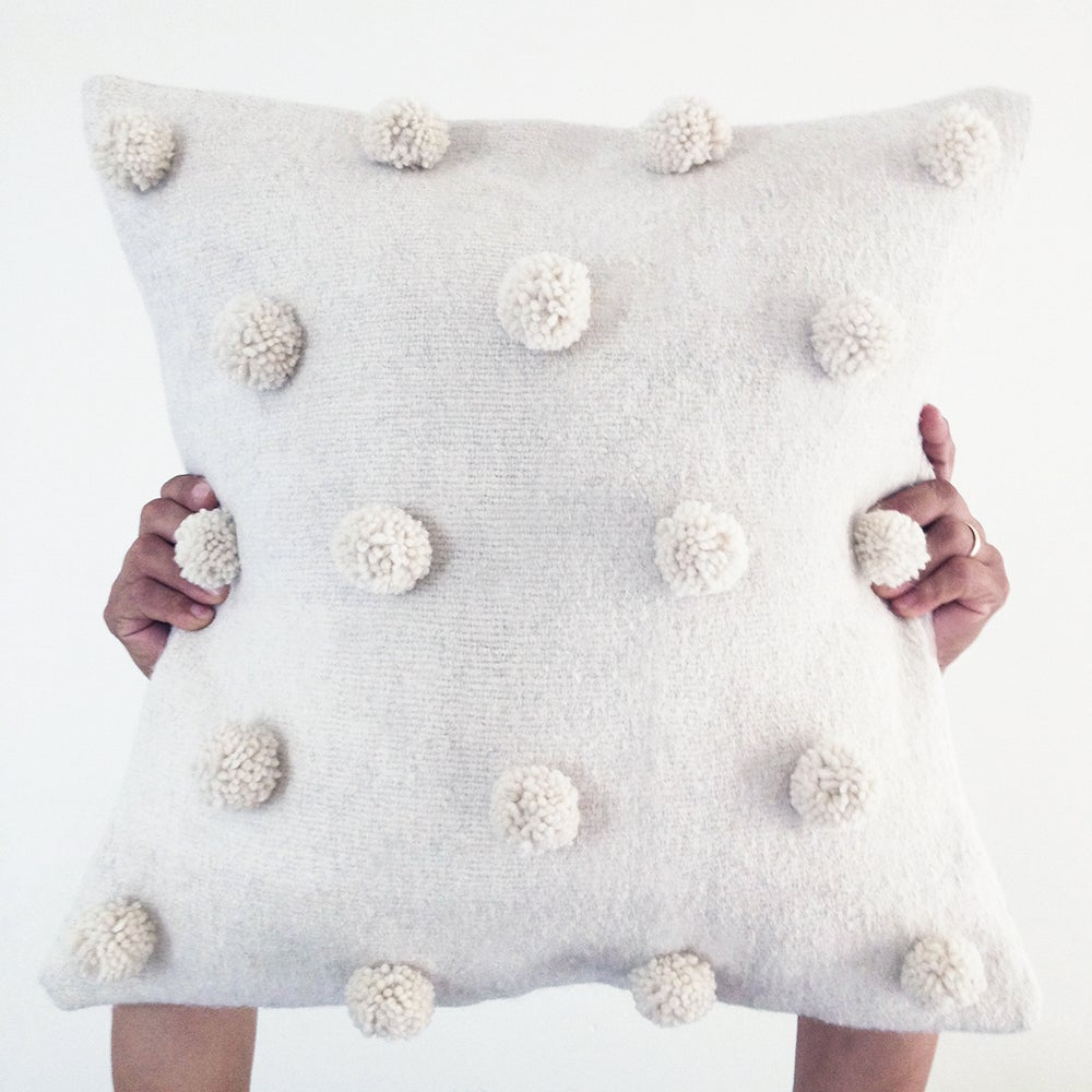 Image of Natura Handwoven Backstrap Wool Pompom Cushion