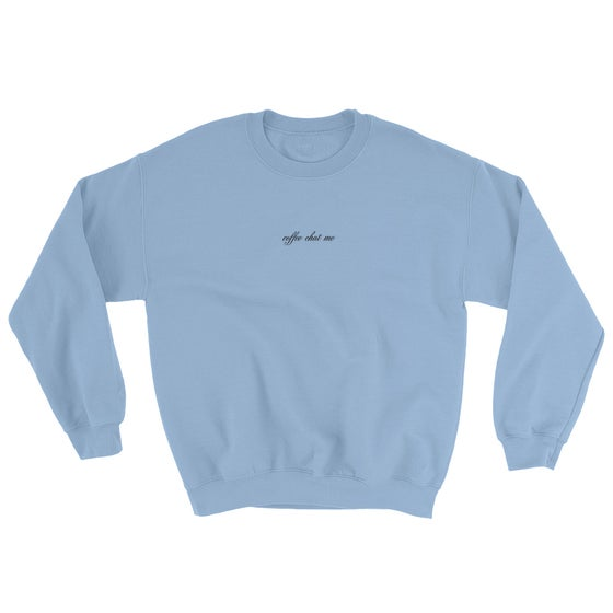 Image of coffee chat me sweater (pastel blue)