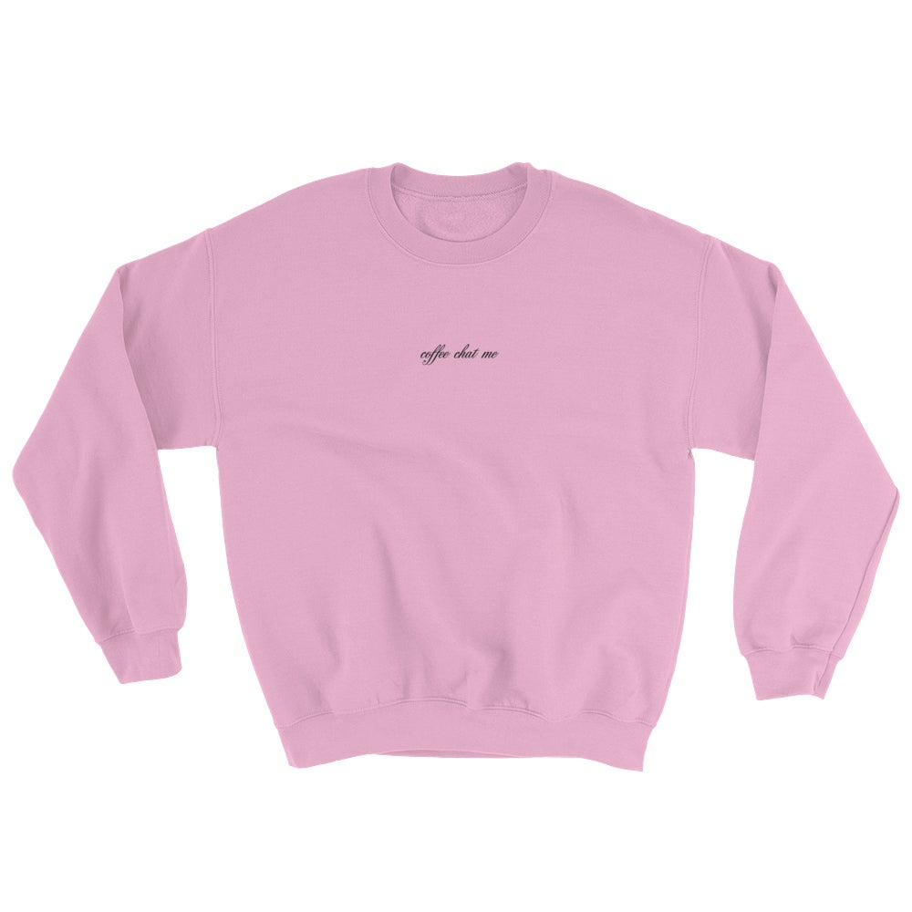Image of coffee chat me sweater (pastel pink)
