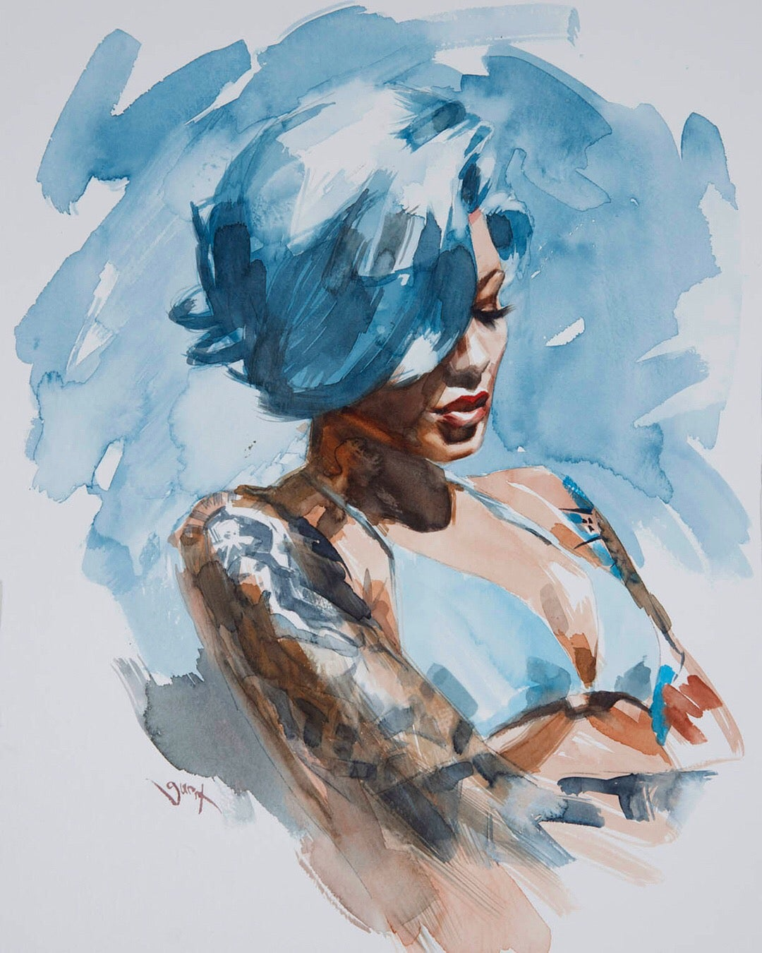 Image of Extremely Limited Edition 'BLUE HAIR' Lithograph Print