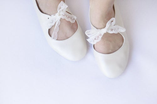 Image of Love - Ivory handmade leather ballet flats