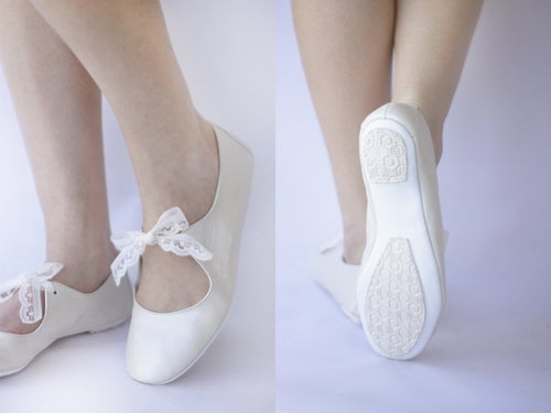 Image of Love ballet flats in Ivory