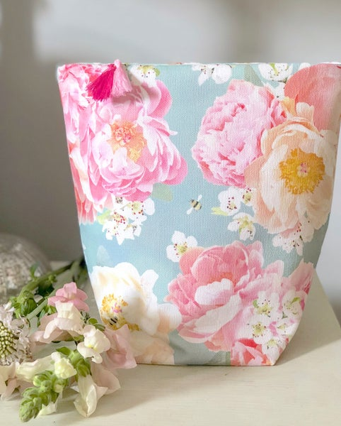 Image of Peony and Bee Fabric Basket