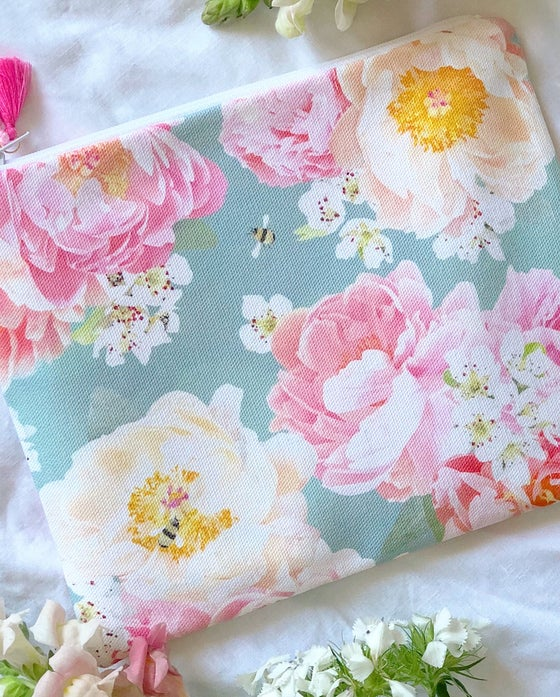 Image of Peony and Bee Pouch