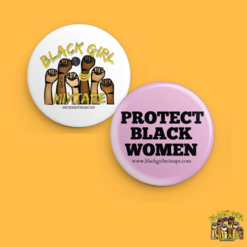 Image of Black Girl Mixtape & Protect Black Women Pin Set