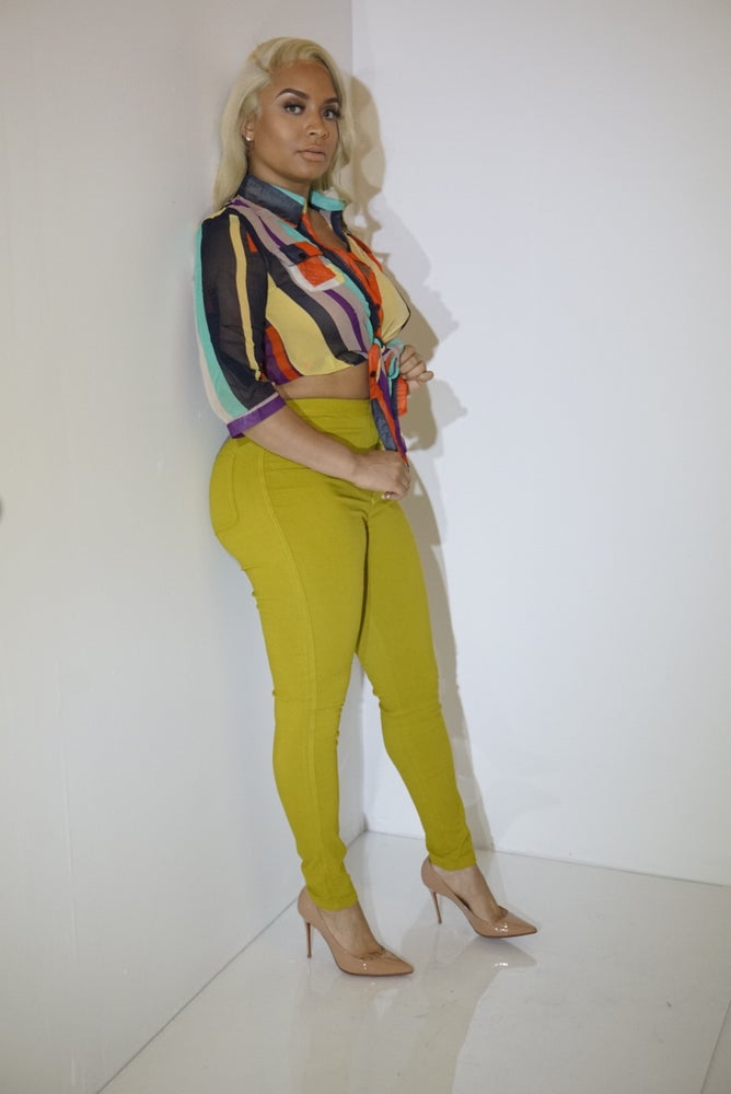 Image of High-Yellow high waisted pants
