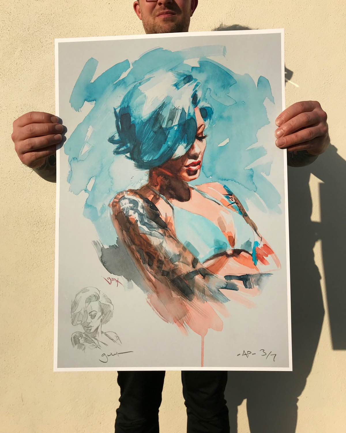 Image of Extremely Limited Artist Proof  'BLUE HAIR'  Print.
