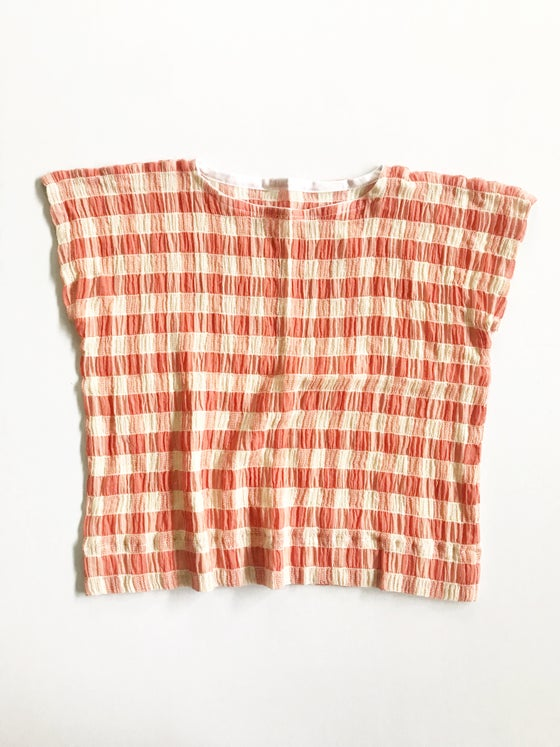 Image of [deep coral + ivory] Boxy Top