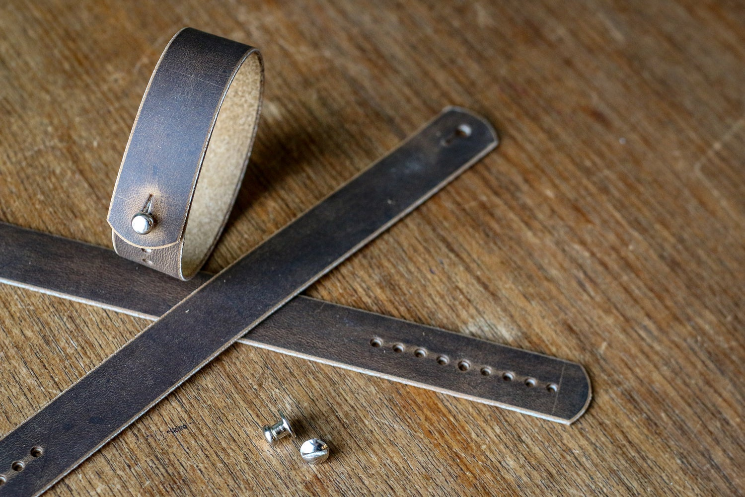 Image of Button Stud Watch Strap in brown Crazyhorse