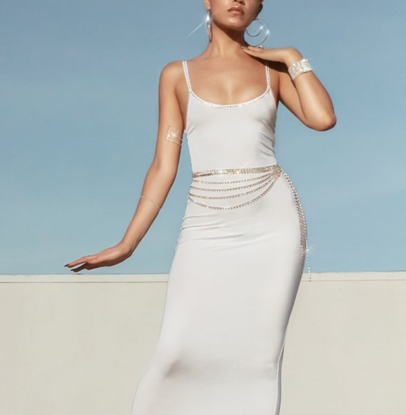 Image of Clear Crystal Long Body Dress 1