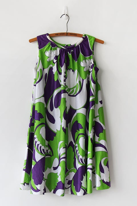 Image of Vibrant Psychedelic Flare Dress With Pockets