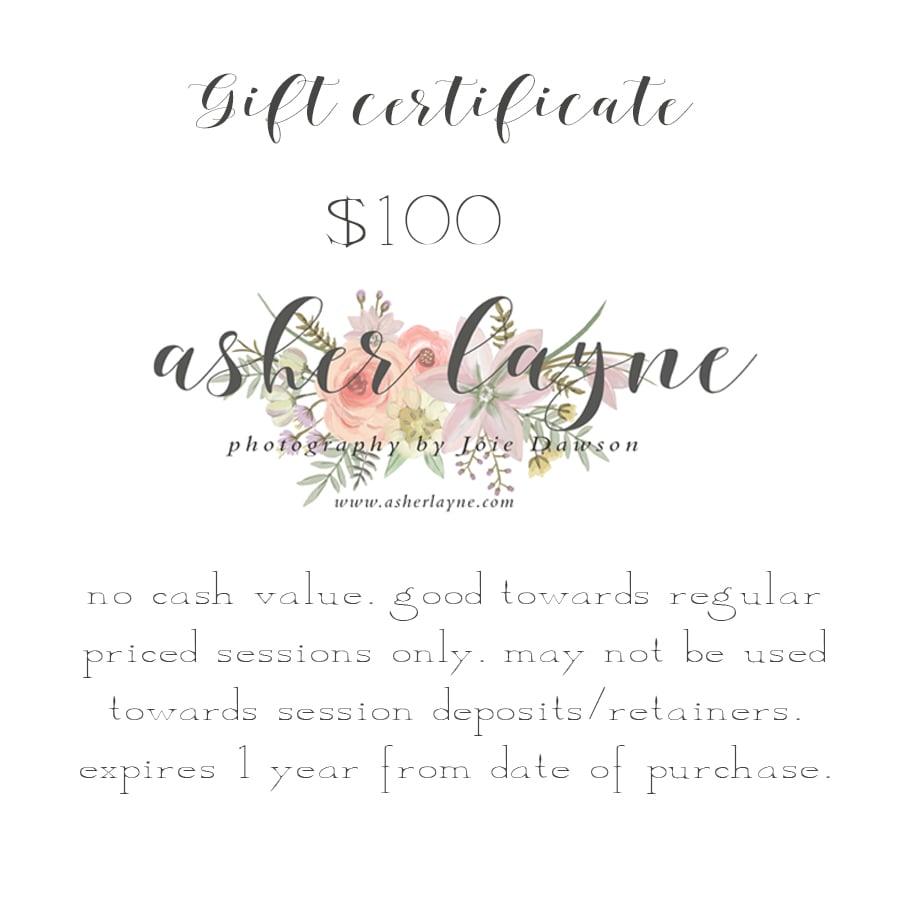 Gift Certificate Asher Layne
