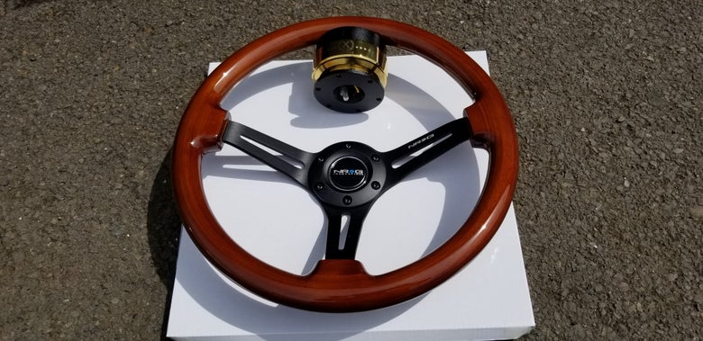 Image of Real Wood 100% Brand New NRG Steering wheel