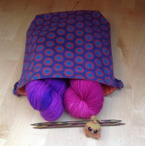 Image of Shweshwe knitting bag (Purple and orange)