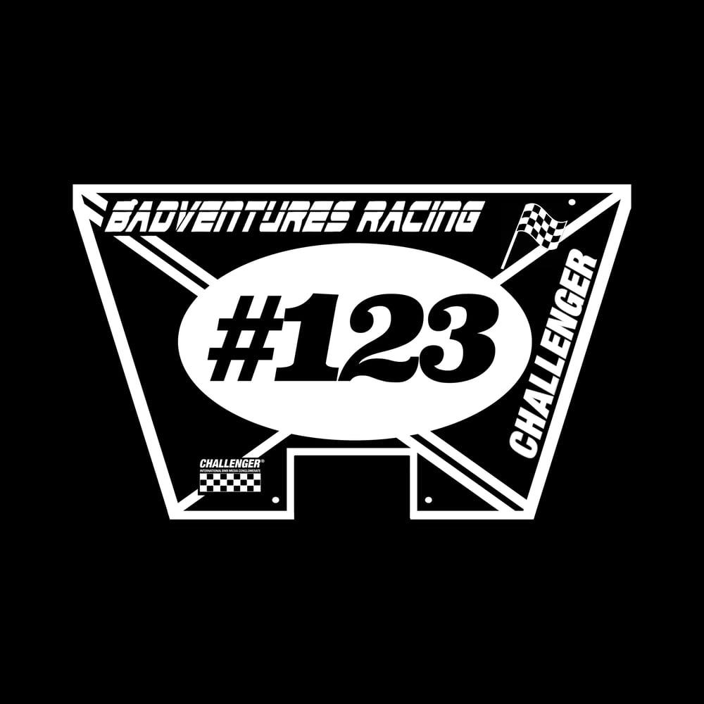 Image of BADVENTURES X CHALLENGER Number Plate **PRE-ORDER**